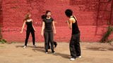 girls start to dance synchronously but one of them make mistake