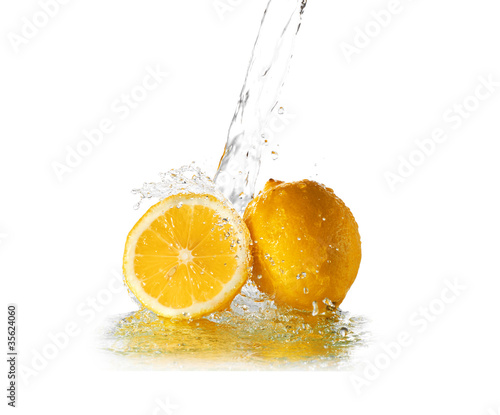 Water splash on lemon