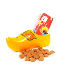 Dutch wooden shoe with presents and pepernoten