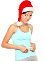Christmas fitness woman - funny weight loss concept