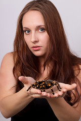 hübsche junge Frau mit Spinne