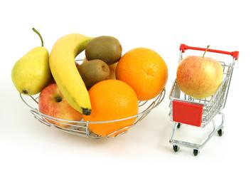 Obst und Einkaufswagen