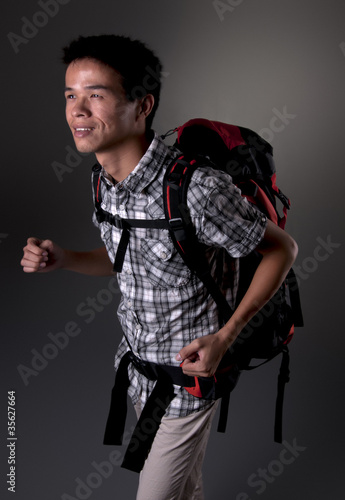 Asian Man going Hiking