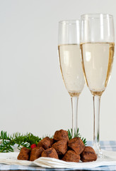Chocolate truffles and champagne