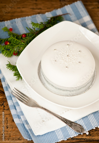 Christmas cake, decorated