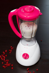 the blender with red currant milk shake