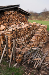firewood, stacked cubic meter