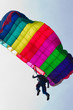 Parachutist demonstrates jumping from airplane