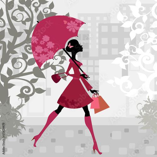 Foto op Canvas Bloemen vrouw beautiful woman with umbrella