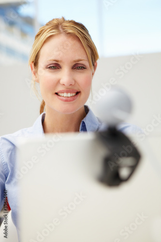 Businesswoman using skype