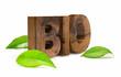 wooden bio word green - Mot bio et feuilles vert