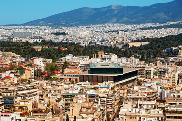 View of Athens including the New Acropolis Museum.