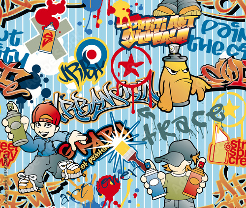 graffiti seamless vector pattern