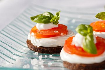 Pumpernickel appetizer with tomato mozzarella slices