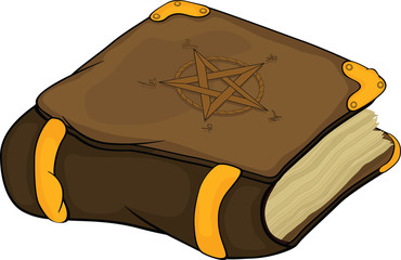 The magic book with symbols pentagram . Cartoon