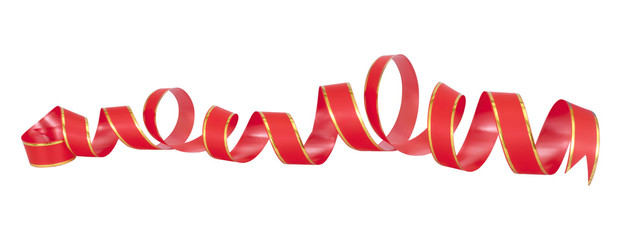 red holiday decor ribbon isolated on white