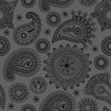 Black paisley seamless pattern