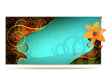 Colored background with lily and curly gold decoration