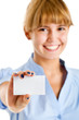 Smiling businesswoman showing blank card