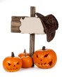 Halloween pumpkins with wood poster on white