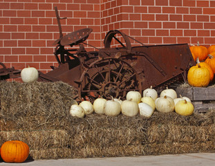 pumpkins straw antique farm machine