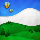 ballons over hill create from paper craft.