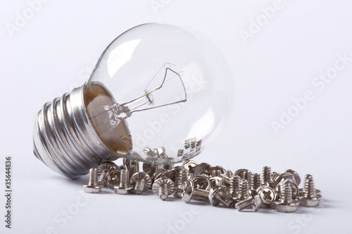 A light bulb and some screws