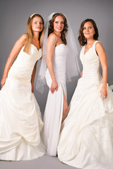 three beautiful brides posing in studio