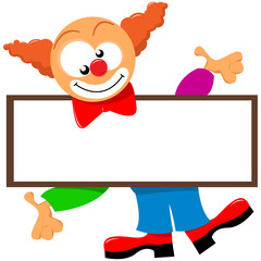 clown holding a signboard