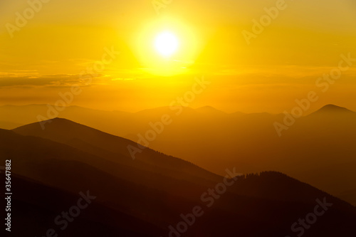 orange mountain landscape during sunset
