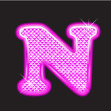 N letter pink bling girly