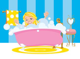 Girl Happy Taking A Bubble Bath