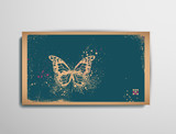 Business/Calling/Visiting Chipboard Card.Butterfly. poster