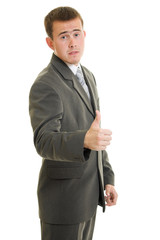 Businessman ok on a white background.