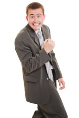 A successful businessman on white background.