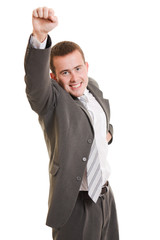 A successful businessman on a white background.