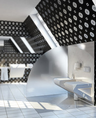 Toilet designed in silver-black