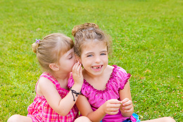children girl sister friends whispering ear