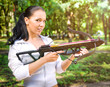 beautiful young girl with arbalest