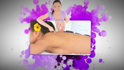 Woman showing women relaxing in a spa