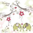 Wedding background with elephant couple, vector