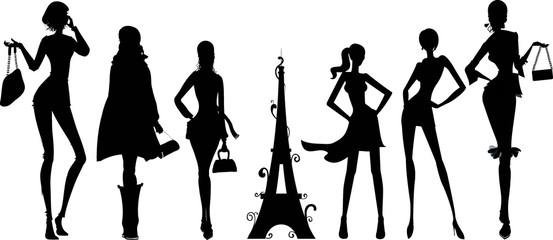 silhouettes de femmes parisiennes