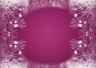 Eisblumen - Eiskristalle - Rahmen - Himbeerfarben