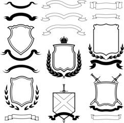 Vector coats of arms, wreaths and ribbons