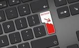 decrease stock arrow icon, button on white keyboard poster