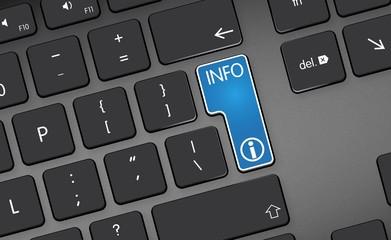 blue info icon, button on black keyboard