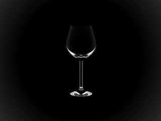 3D Copa vino - negro
