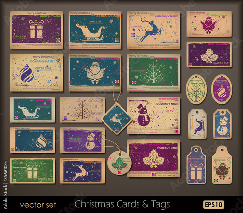 Vintage collection of chipboard Christmas cards.Two colors cards