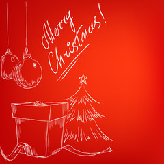 Christmas hand drawn card with red background