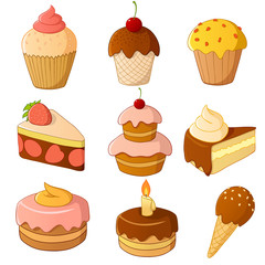 Set of cartoon cake isolated on white